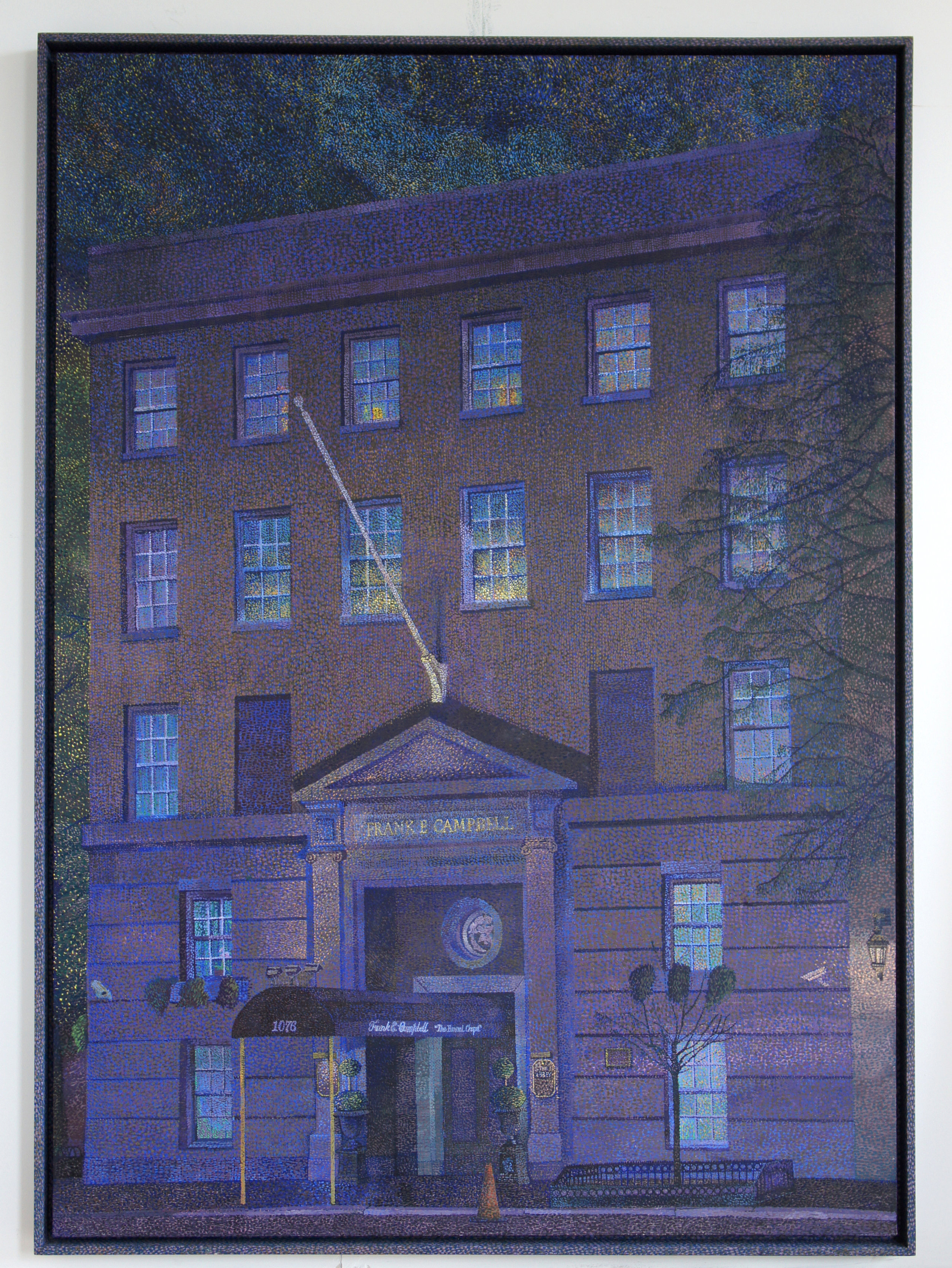 Frank E. Campbell (Night) , 2018, oil on canvas and painted wooden frame, 48 x 67 inches (121.9 x 170.1 centimeters)