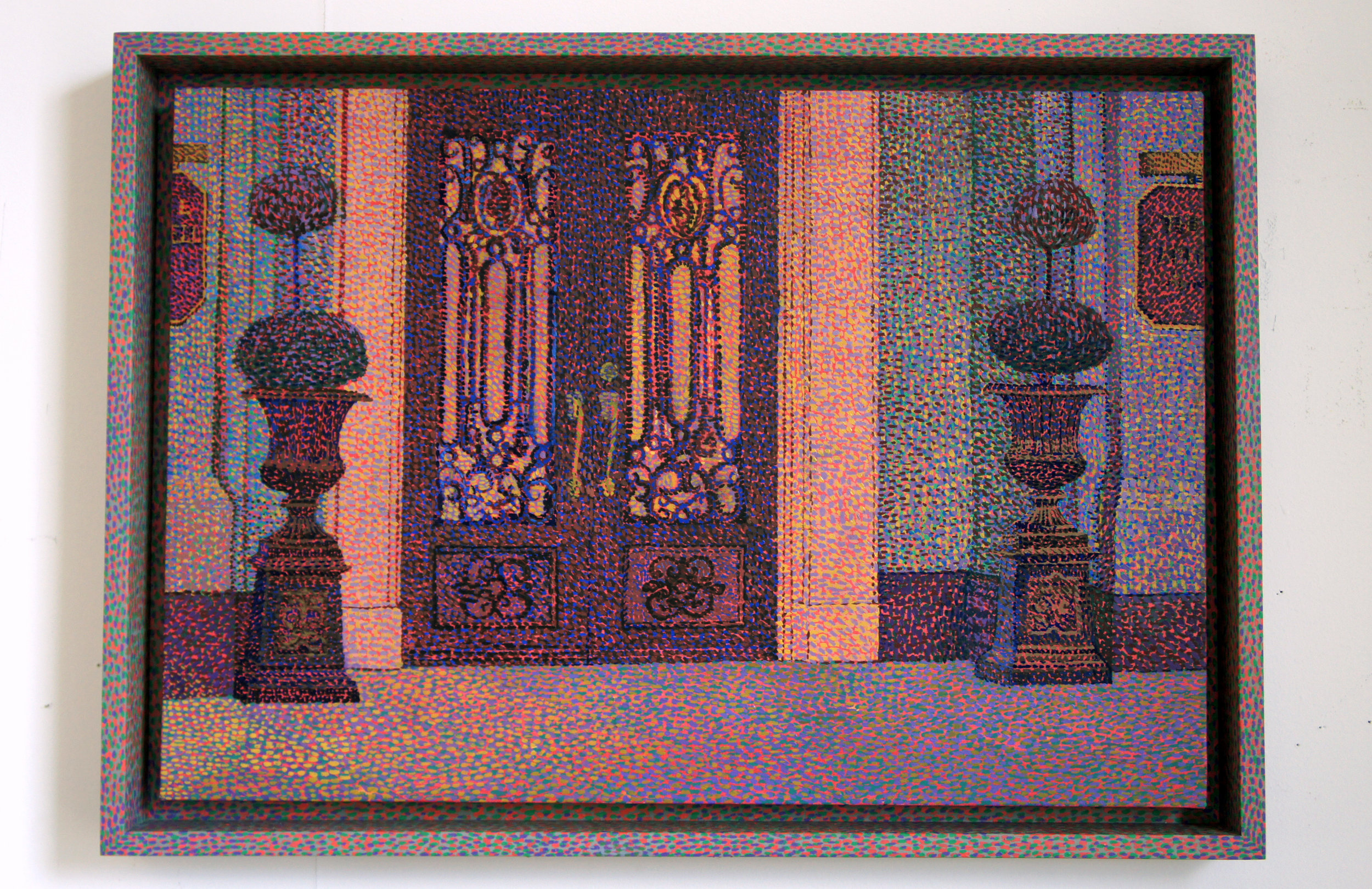 Frank E. Campbell (Gates at Dawn) , 2018, oil on linen and painted wood frame, 14.5 x 21 inches (36.8 x 53.3 centimeters)