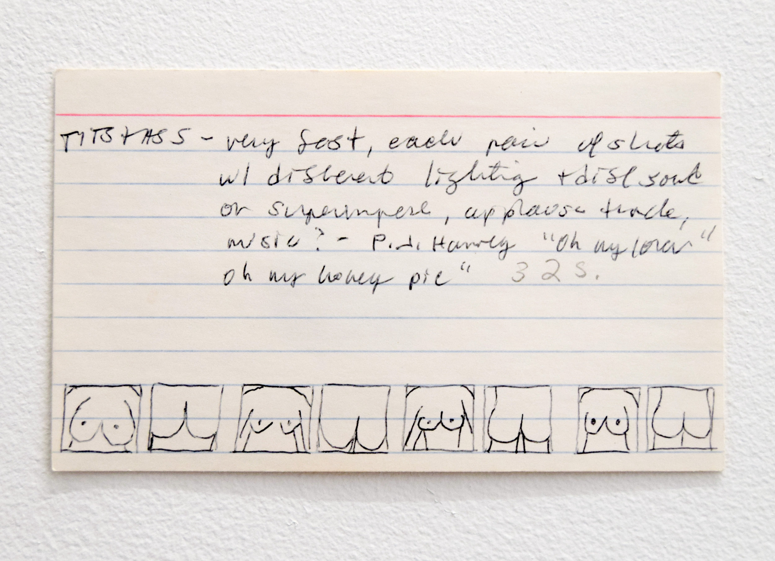 Alix Pearlstein,  Untitled , 1993, pencil on notecard, 5 x 3 inches.
