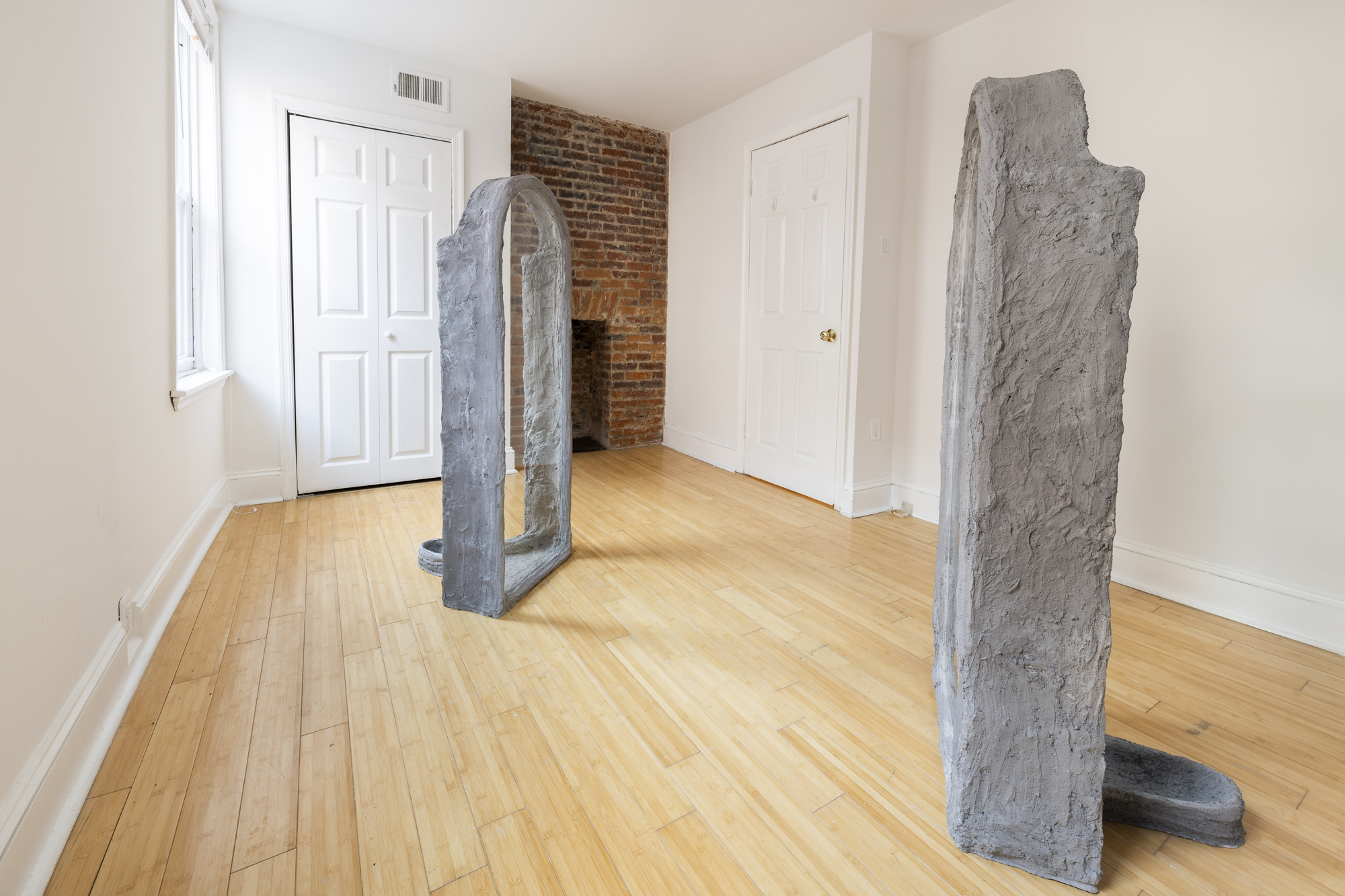 Oren Pinhassi,  Urinals NYC 1 and 2 , 2018, steel, glass, plaster, burlap, sand, pigment