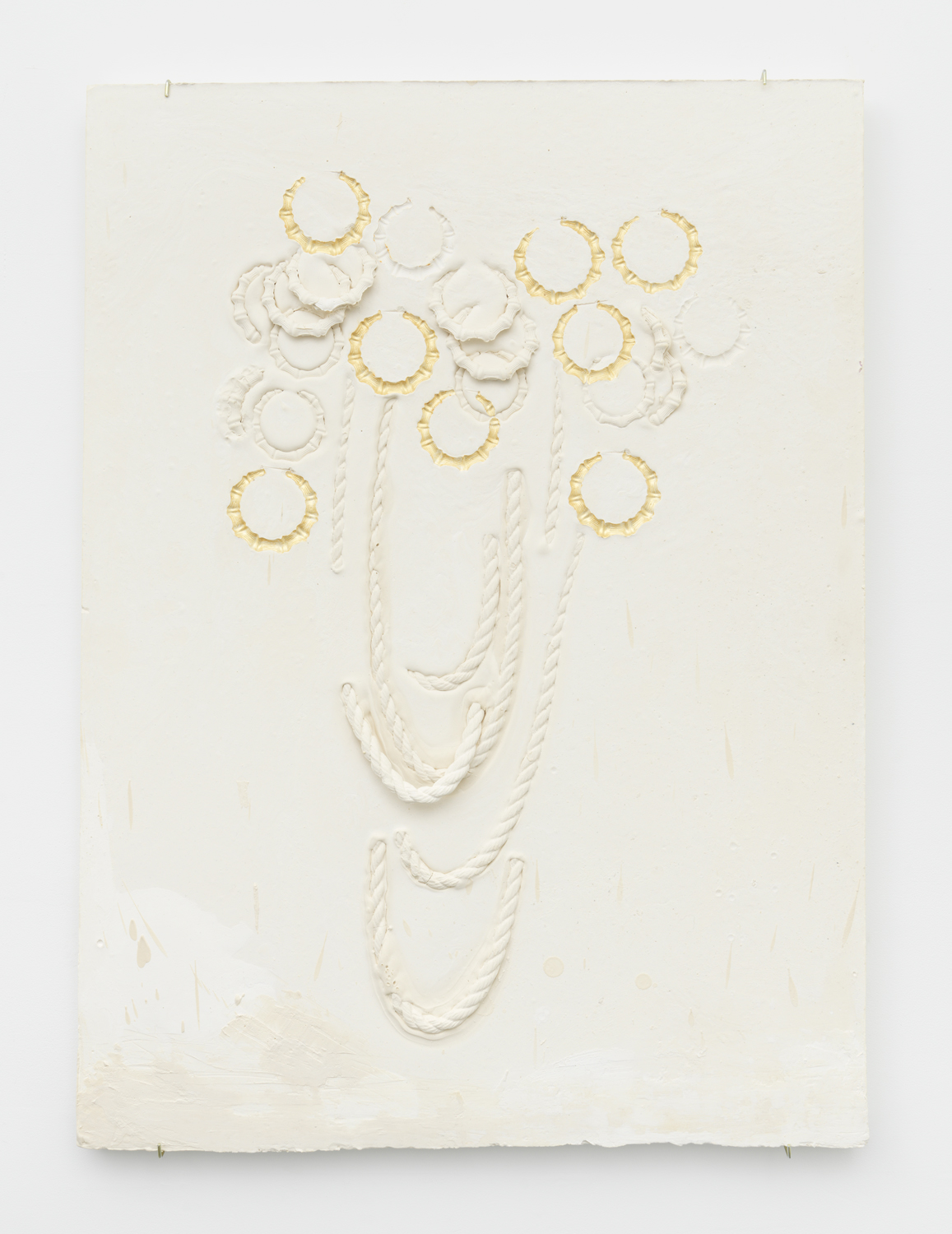 Composition with Rope Chains Overlapping Round Bamboo Earrings, Impressed with Gold  Plaster, foam and acrylic 46 x 34 x 3 inches, 116.84 x 86.36 x 7.62 cm 2019