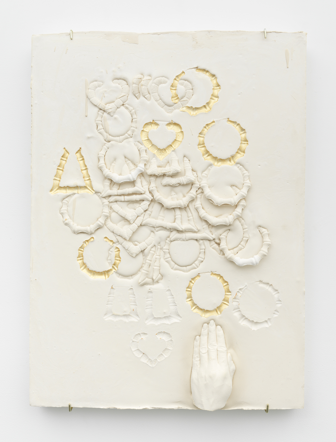 Composition with Bamboo Earrings, Impressed with Gold, Overlapping with Hand  Plaster and acrylic 29 x 21.5 x 3 inches, 73.66 x 54.61 x 7.62 cm 2019