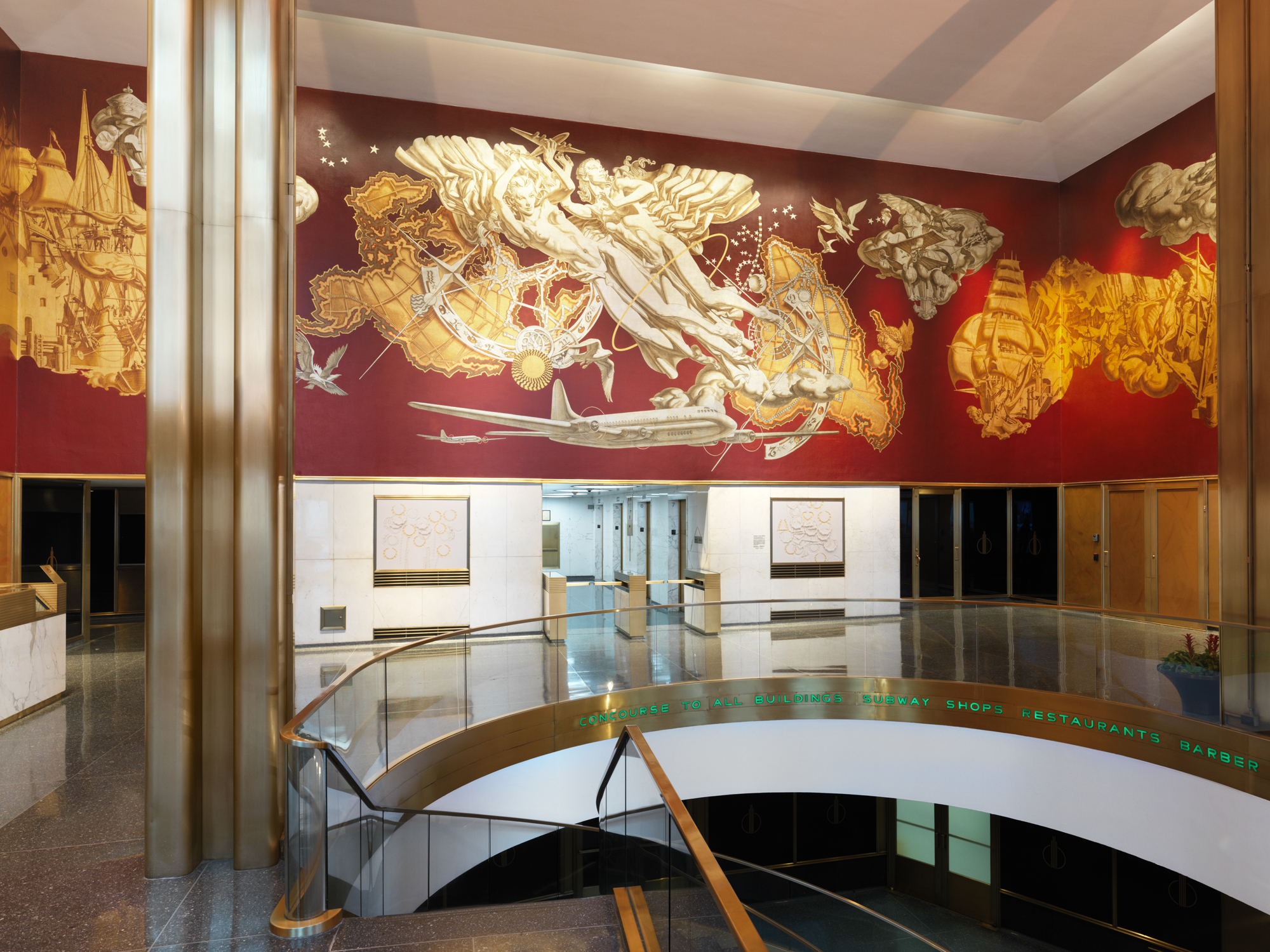 Vinyl murals in 10 Rockefeller Plaza. Photo by Dan Bradica, courtesy of Art Production Fund.