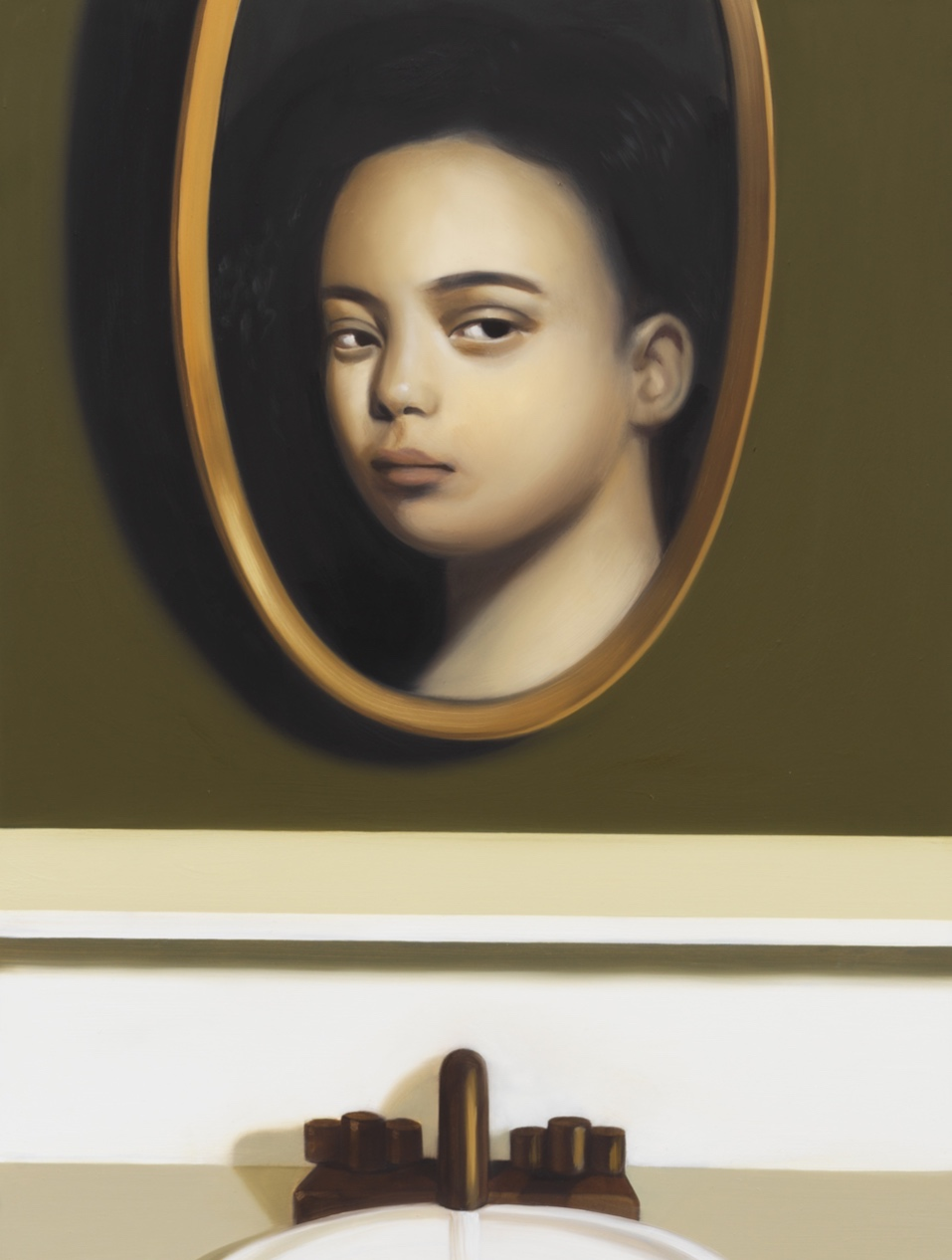 Seeing Eye to Eye,  2019, Oil on panel 24 x 18 inches (60.96 x 45.72 cm)