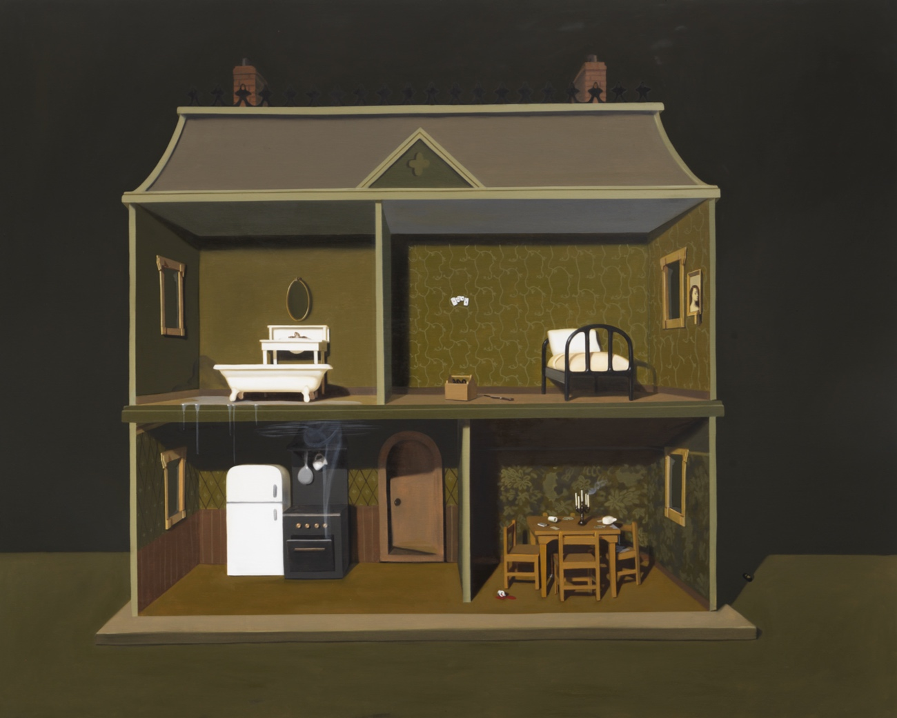 Anatomy of Small House,  2019, Oil on panel 48 x 60 inches (121.92 x 152.4 cm)
