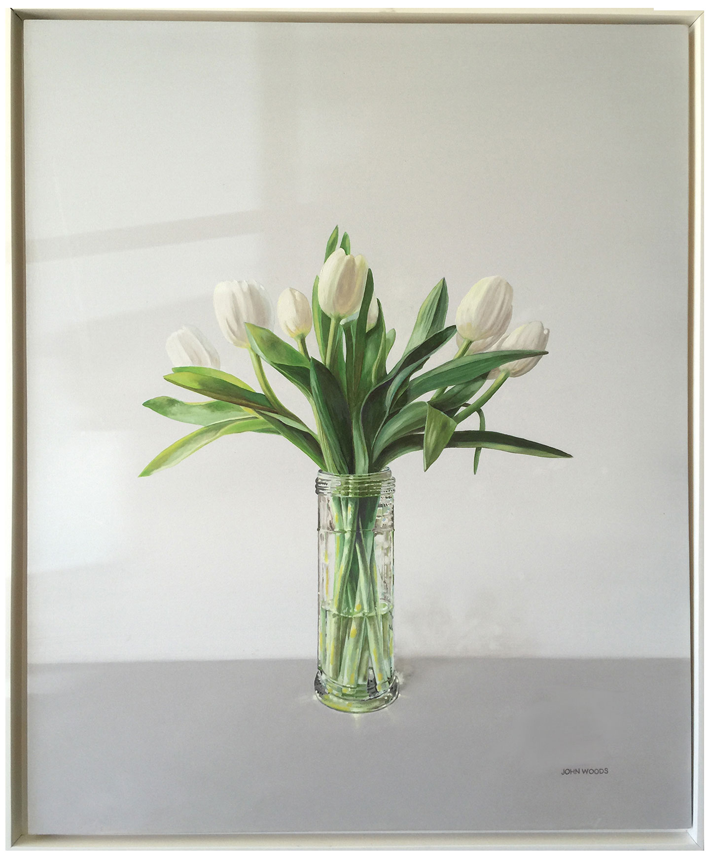 White Tulips - oil on panel