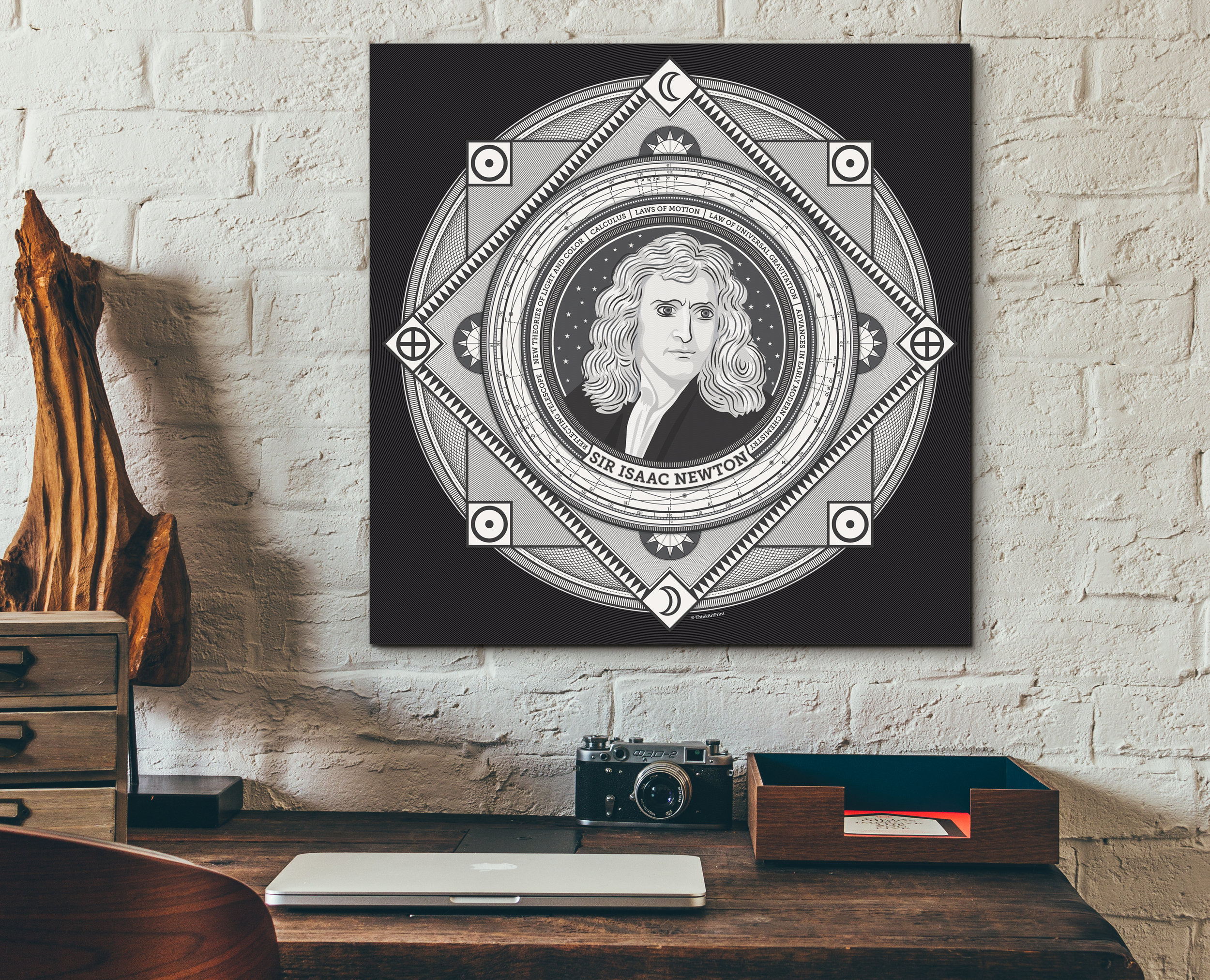 The latest iteration of my Sir Isaac Newton art print was completed in February 2017. Click image to enlarge.