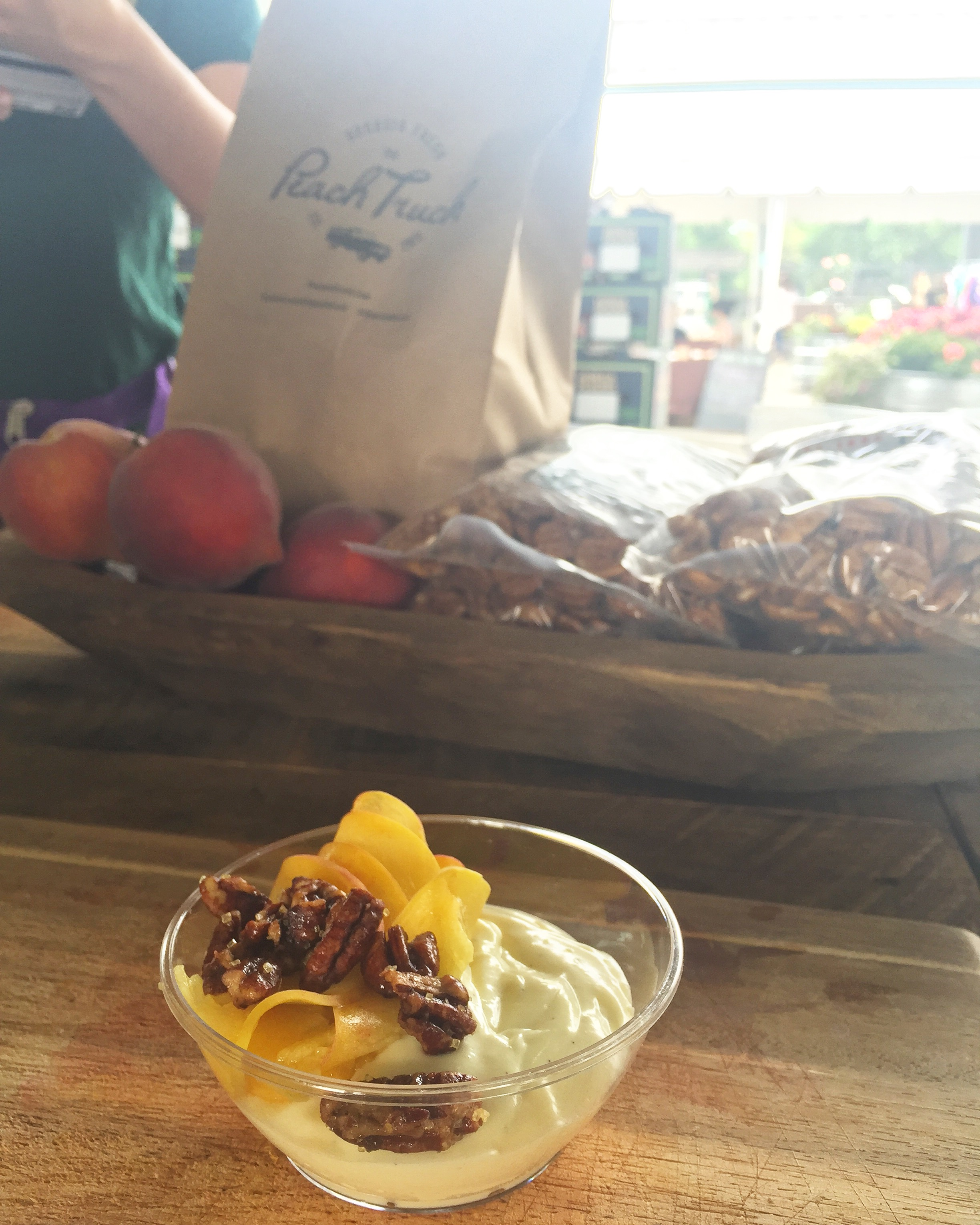 Sweet Treat: Vanilla Bean Pudding with Fresh Shaved Peaches & Bourbon Candied Pecans