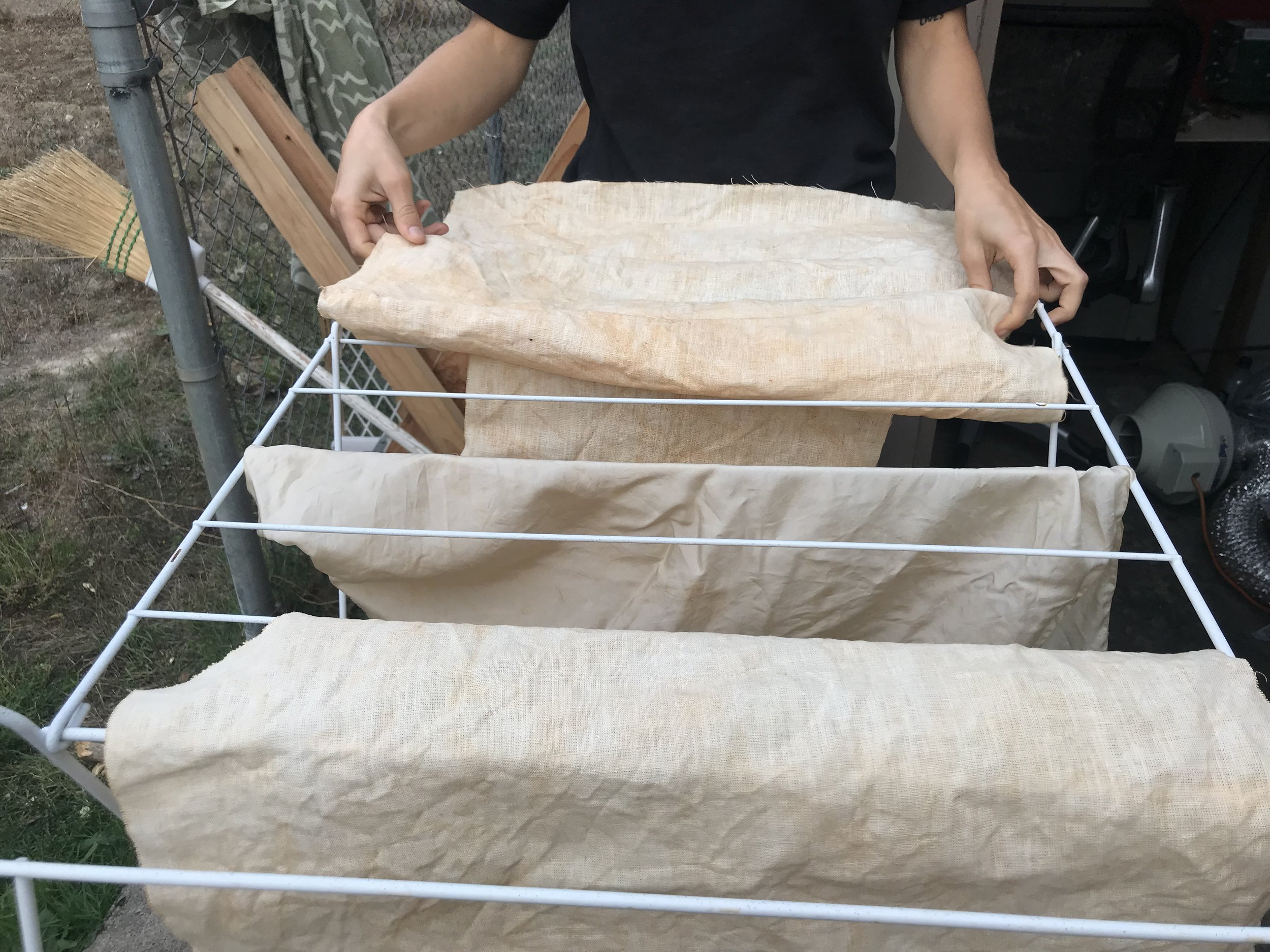 Post-treatment of silk and linen in iron & alum mordant baths