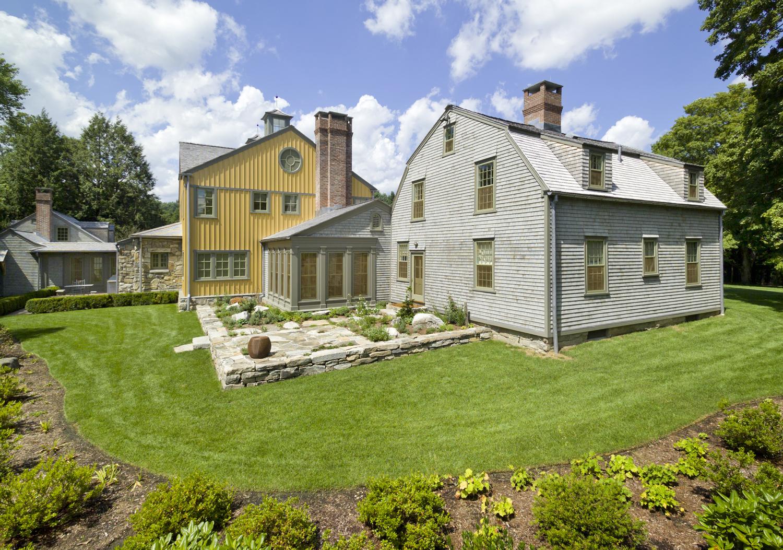 Redding, CT farmhouse renovation - gardens and slate