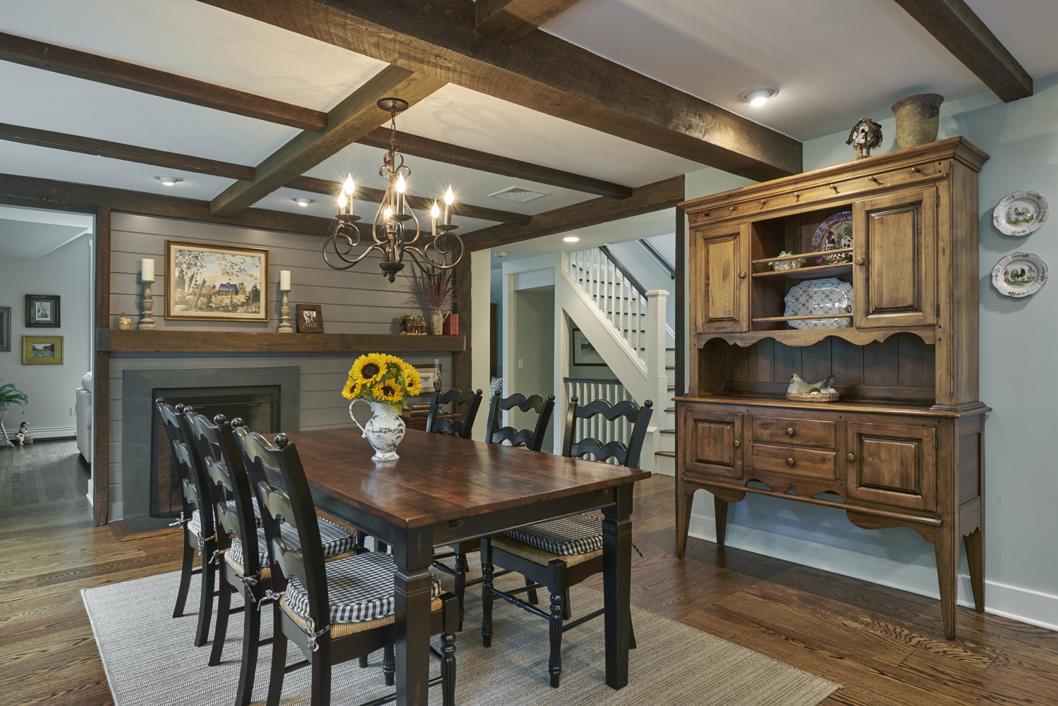 New Open Dining Area with Antique Beams