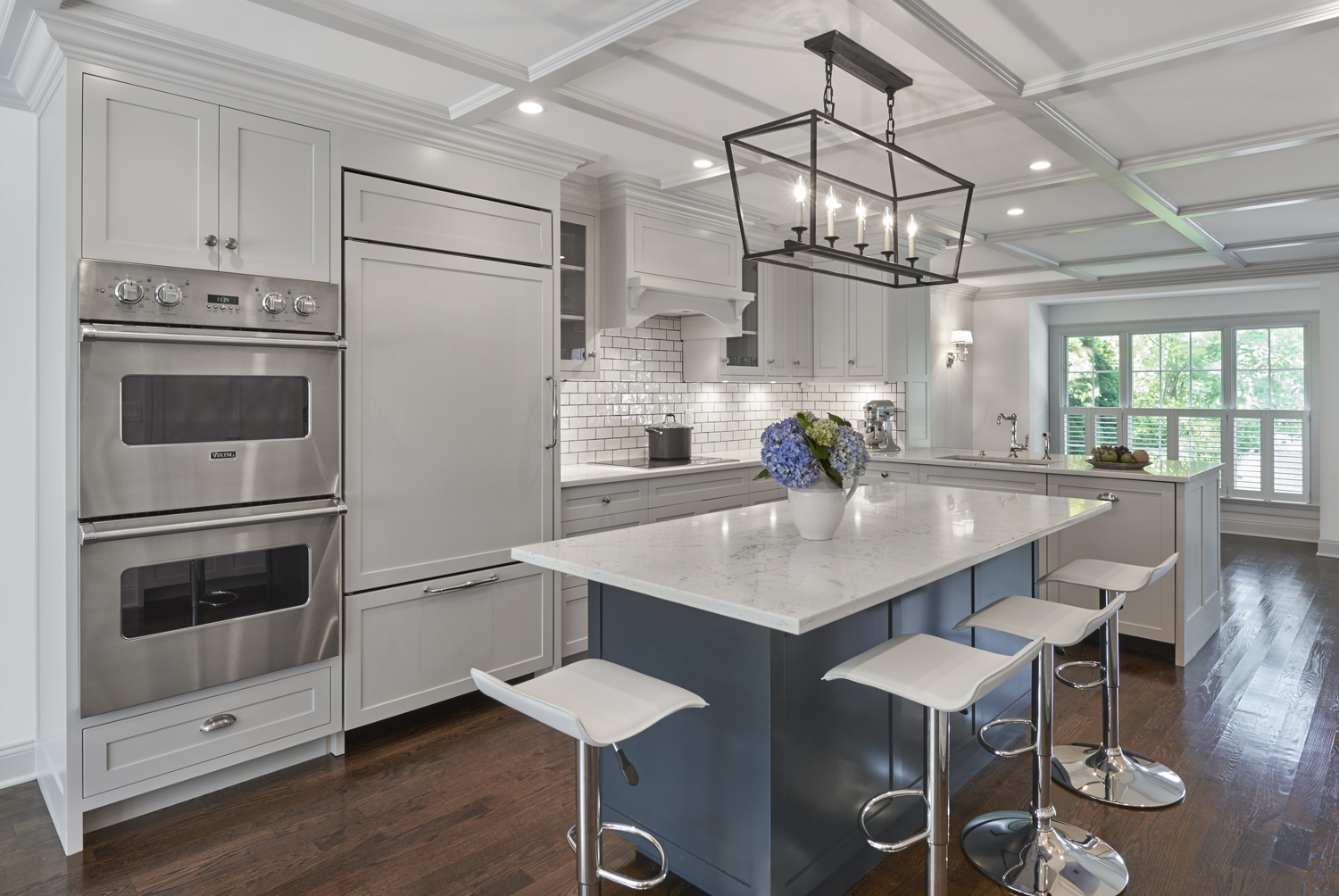 New Transitional Kitchen with Center Island, Greenwich, CT