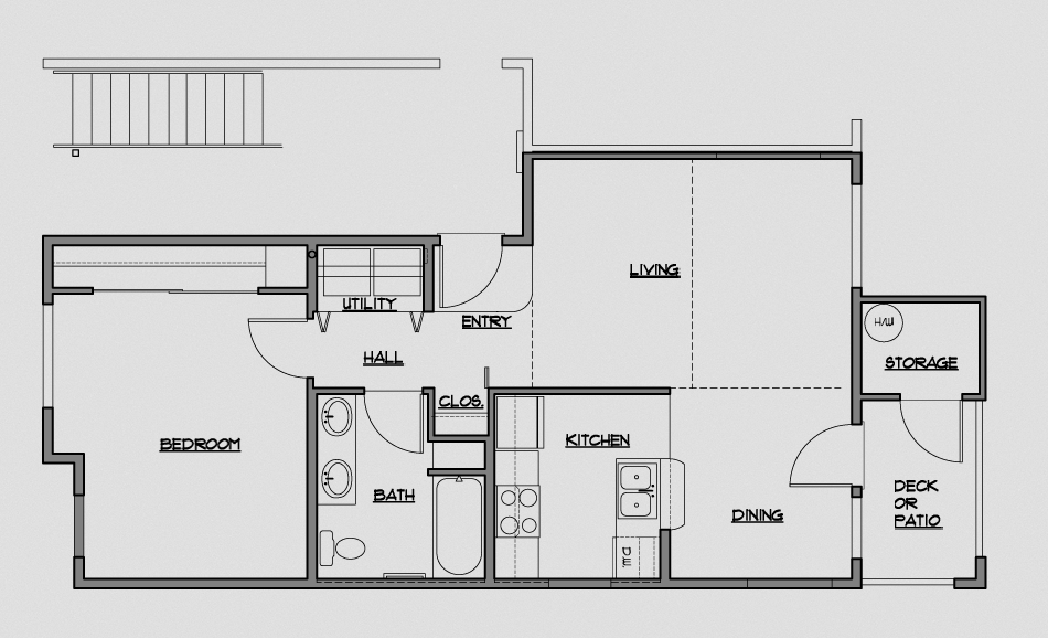 1 Bedroom/1 Bath 725 Sq. Ft.