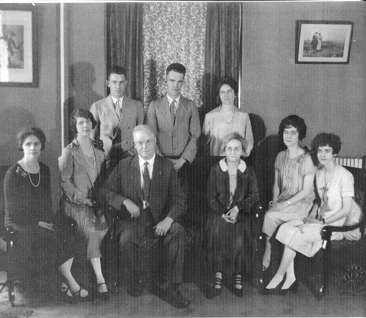 In this undated portrait the members of the Shaw family are: (from left, front) row) Laura Shaw Crossman, Irene Shaw Miller, William Shaw, Elizabeth Reisel Shaw, Mildred Shaw Briggs, Ruth Shaw Smith; (back row) Evan Shaw, Kenneth Shaw, Edith Shaw McKee. (Courtesy of Elizabeth Shaw Stolte)