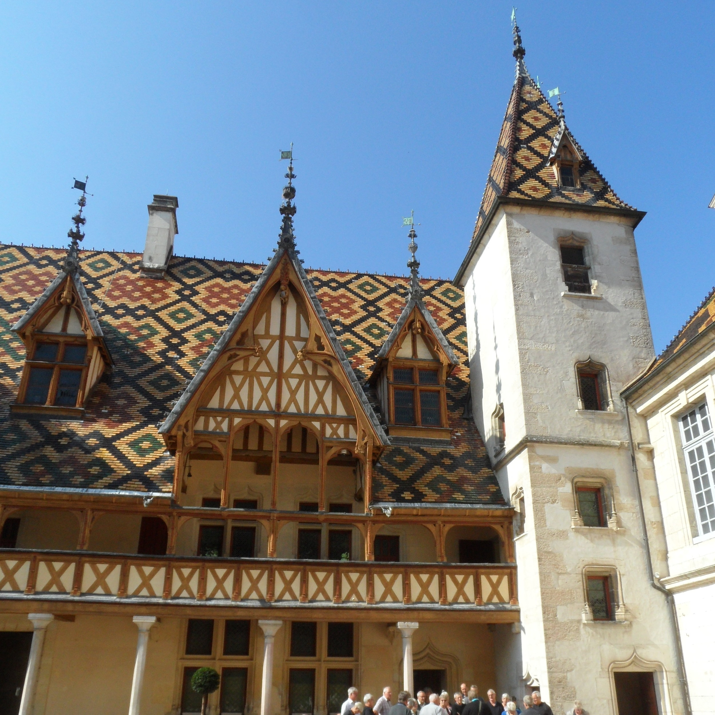 My wife and I stumbled on this beauty in Burgundy during our trip to France last fall. This roof is made of glazed tiles and found on top of Hotel Dieu in Beaune, FR.
