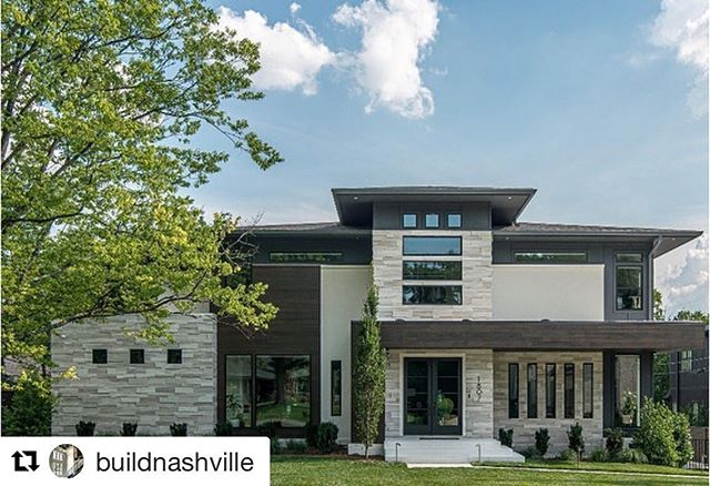 """Love scrolling through insta and seeing our past projects showing up looking like this! 🔥🔥🔥 Thanks @buildnashville for trusting us with designing this one! It turned out wonderful!! . . .  #Repost @buildnashville with @get_repost ・・・ We are excited to share some exterior photos of our """"Mountain Modern"""" designed home in Green Hills. Check back later today for a tour inside the home!  Builder and Designer: @buildnashville  Architect: @augustdevelopment"""