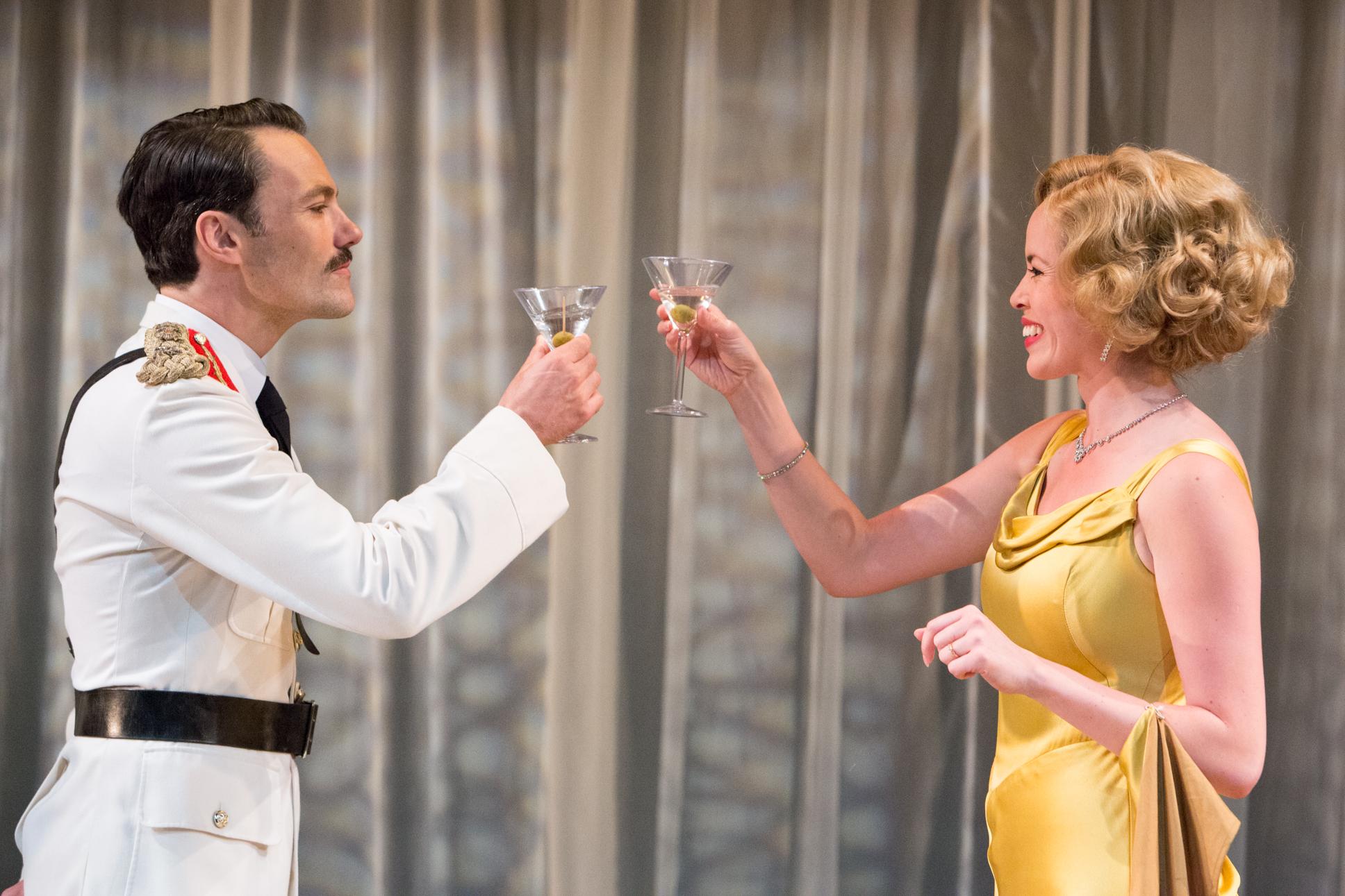 Matt Rawle as Duke Theseus, Fiona Hamption as Hippolyta. A Midsummer Night's Dream at the New Wolsey Theatre. Dir Trevor Nunn. Photo Mike Kwansiak.jpg