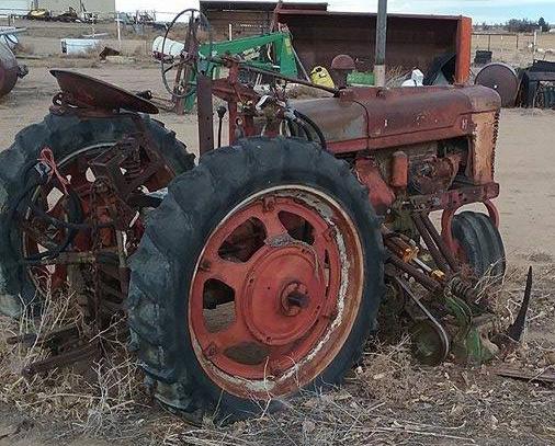 H McCormick Farmall w John Deere 8' sickle mower attachment