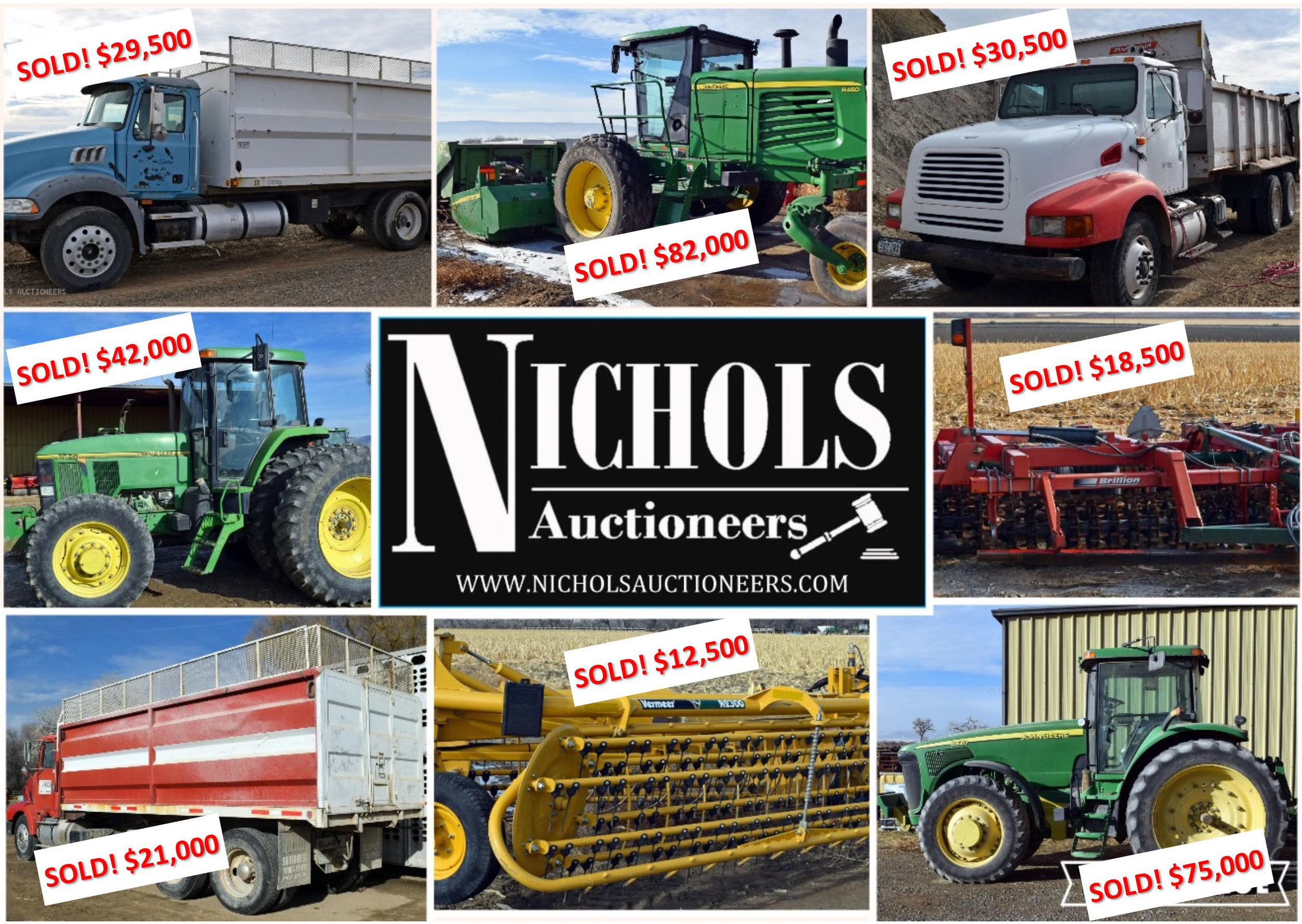 SOLD! By Nichols Auctioneers in Fruita, CO How can we work for YOU? #AuctionsWork  Contact us today!