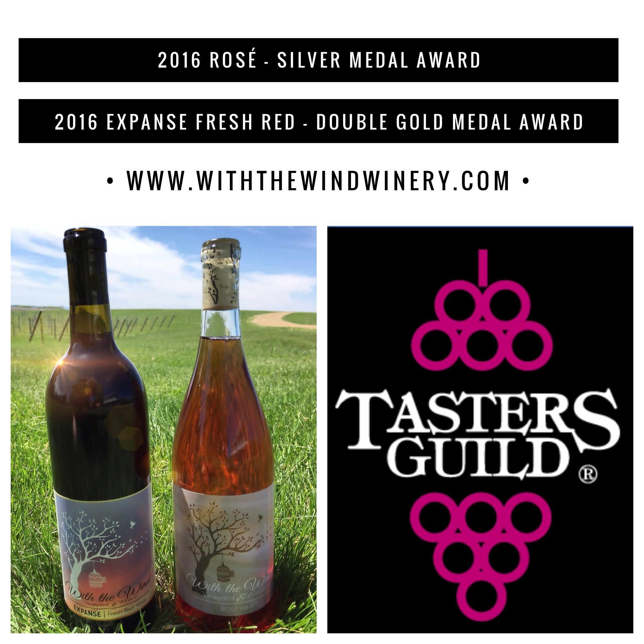 """May 2018 - With the Wind Vineyard & Winery is honored to accept both Double Gold and Silver Awards on two of our locally-grown favorites! Judges comments included: """"We experienced some exceptionally good proprietary blends. Wineries are excelling at processing the best fruit possible from their region...to produce superb signature wines for the consuming public to experience."""""""