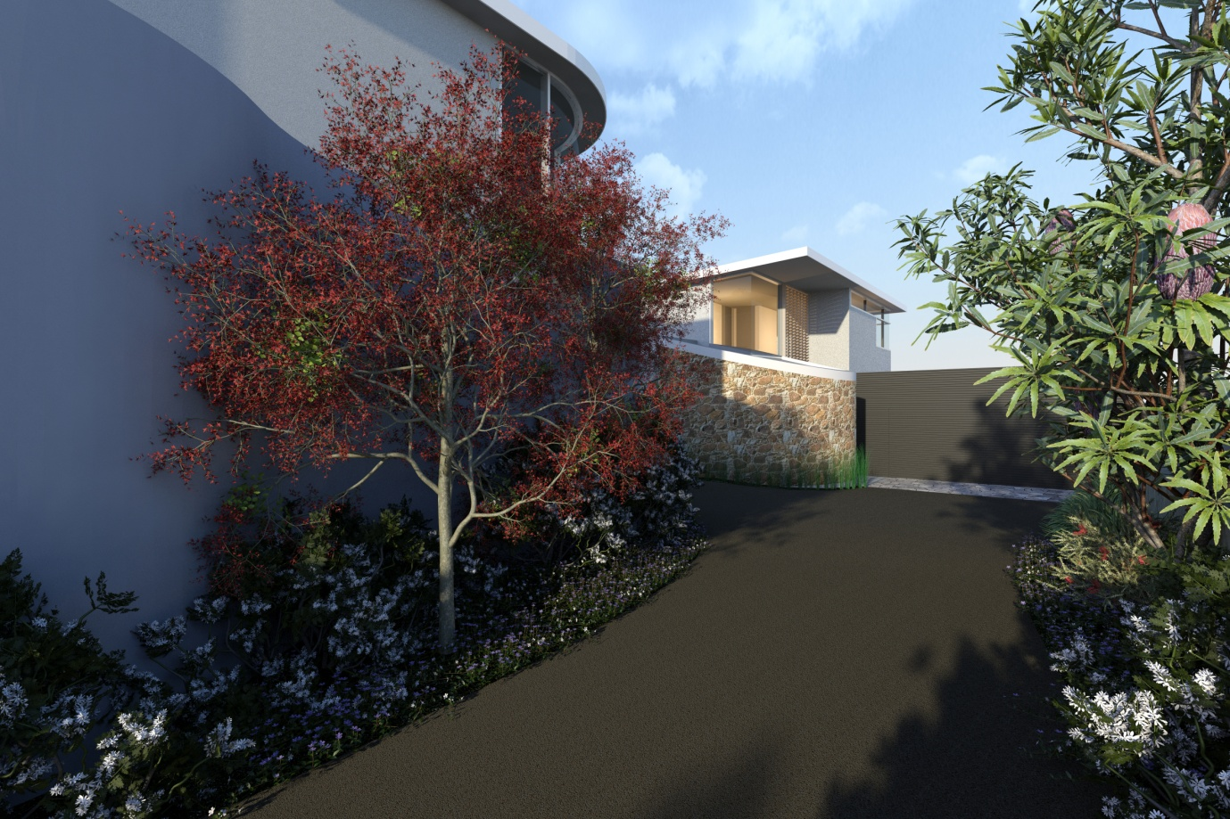 Artist impression of rear townhouse