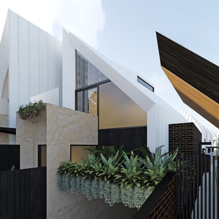 Artist impression of townhouses with basement garage. A feature garden bed sits above the vehicular entrance.