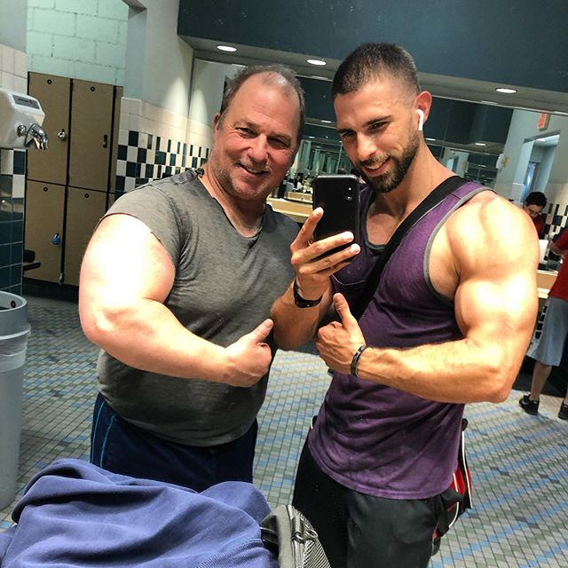 """ON A LIFELONG PURSUIT TO CATCH THIS MAN! Think ill ever have arms as big as my dad? Yea, me neither😂😜 i'm convinced that my mom slept with the milkman... i got my hairiness from her side of the family, and my genetics for muscular hypertrophy from, well... not his... because hes massive. Haha if i can continue to out angle him in every photo, i think ill be fine haha happy monday! ✔️Every now and again, you need to be reminded of your """"why""""... welp, this is my """"why"""" - to make my dad proud🙌🏻"""