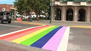 Victoria, BC crosswalk painted in Pride Colors