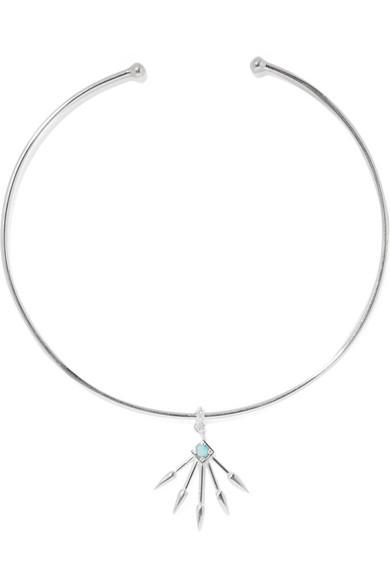 Pamela Love / 5 Spike silver turquoise choker