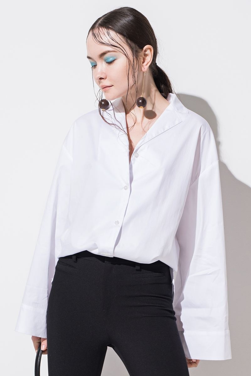 White Wide Sleeved Shirt