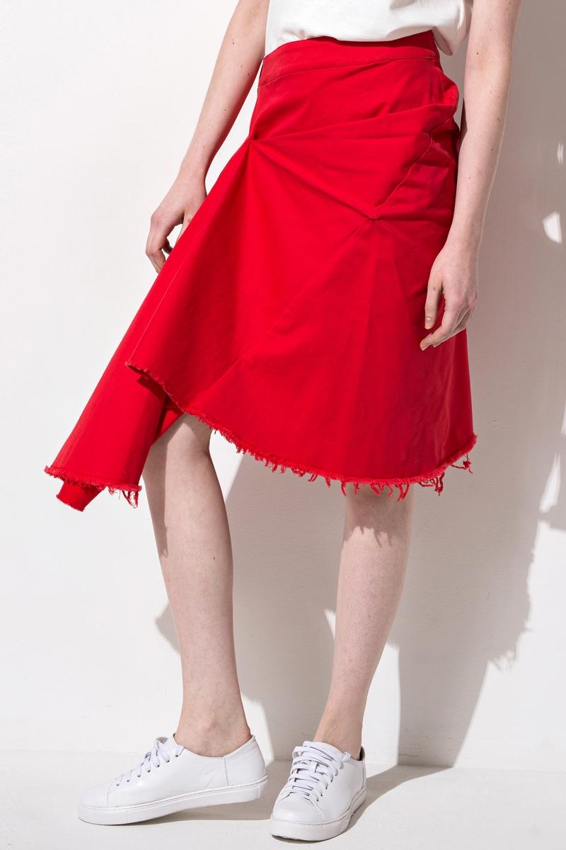 FRS 'Asymmetrical Ruffled Denim Midi Skirt'