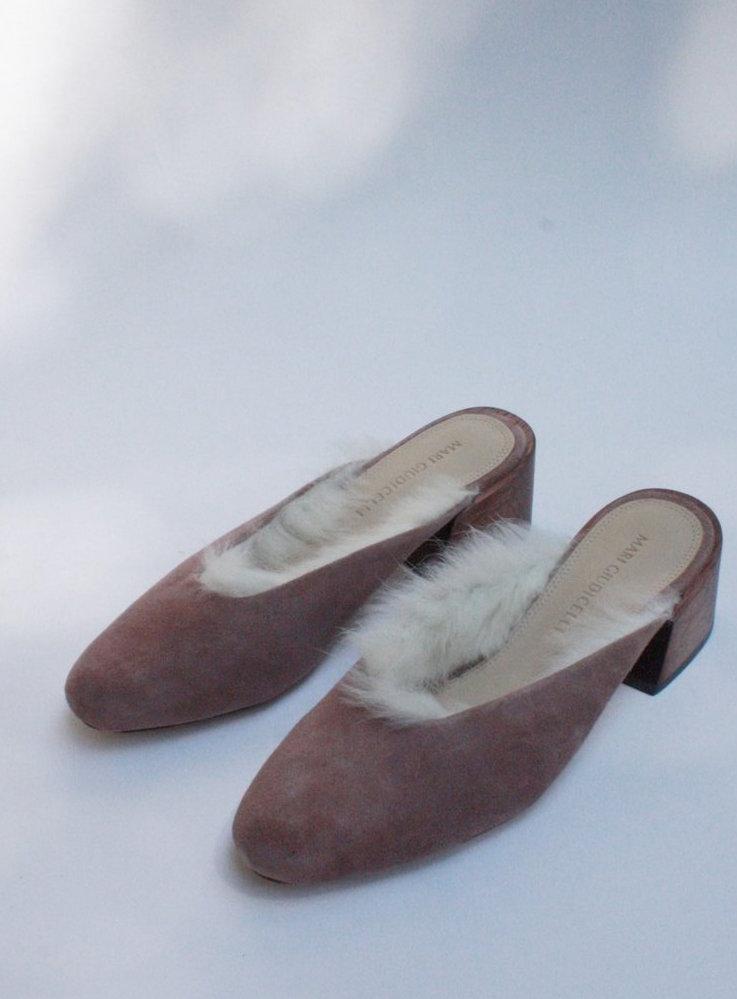 Leblon Rose Suede Mules & Rabbit Fur / Mari Giudicelli via DNAMAG
