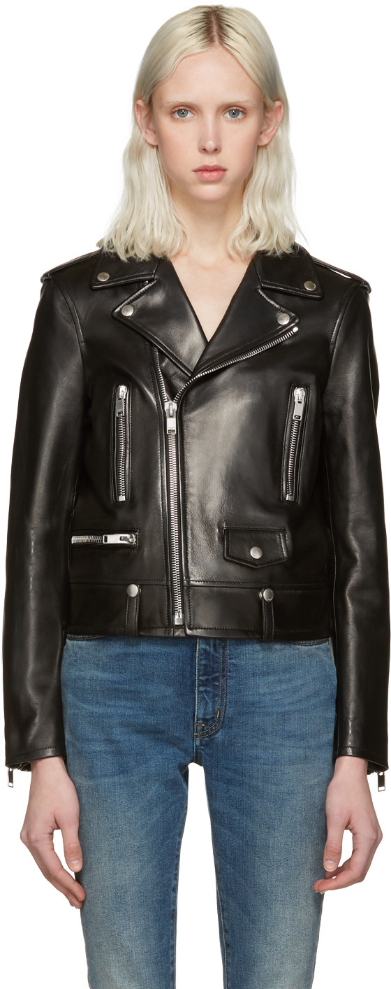 Saint Laurent Leather Moto Jacket via DNAMAG