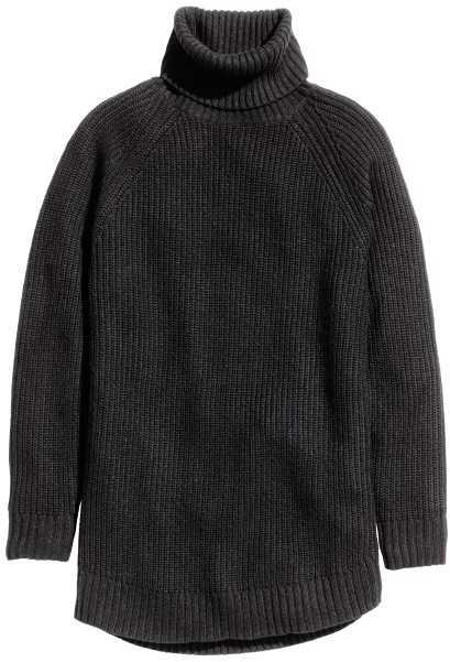 H&M Ribbed Turtleneck Sweater via DNAMAG