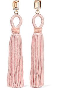 Pink Tasseled Silk Earrings by Oscar de la Renta via DNAMAG