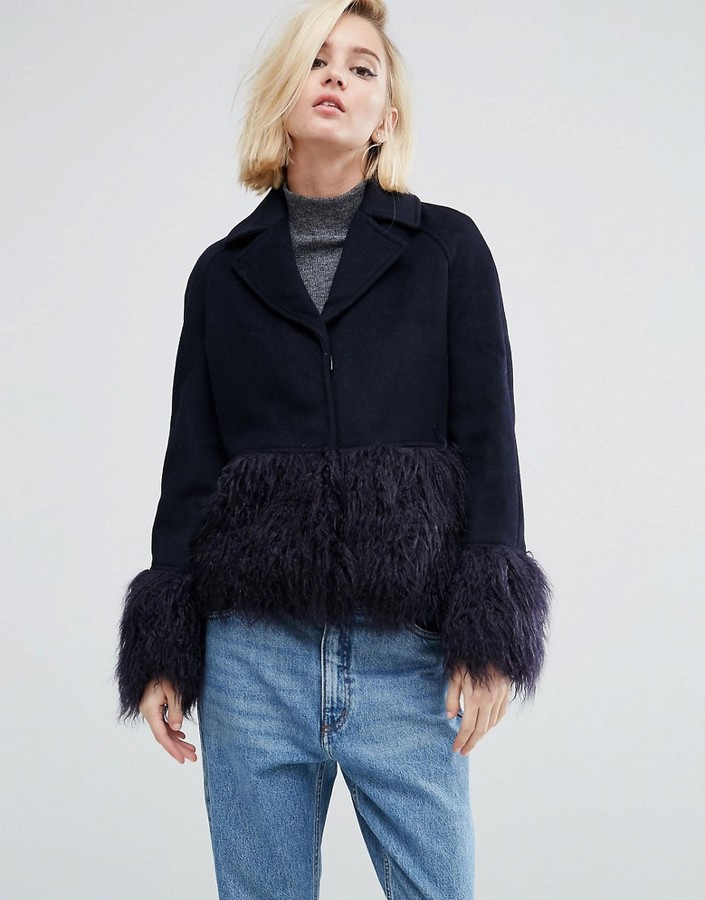 Asos Lost Ink structured coat w/faux fur sleeves