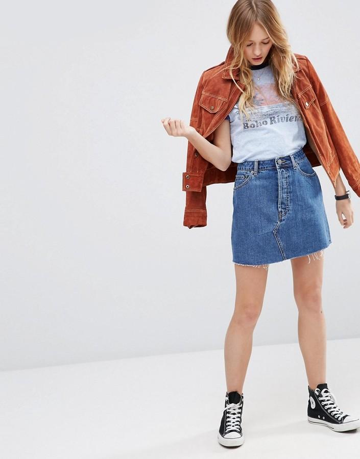 Asos high-waisted denim skirt
