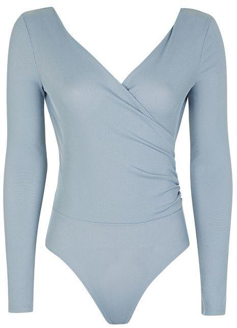 Topshop wrap bodysuit in dusty blue