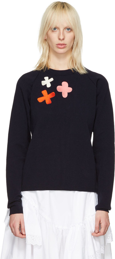 Molly Goddard - Navy Embroidered Charlie Sweater