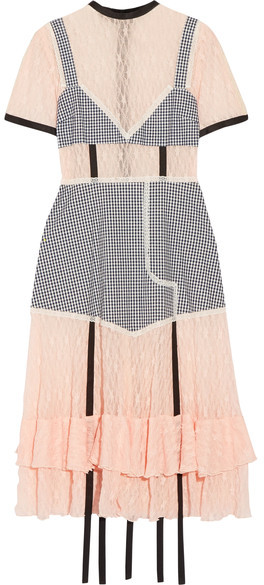Sandy Liang accord paneled gingham cotton and lace dress