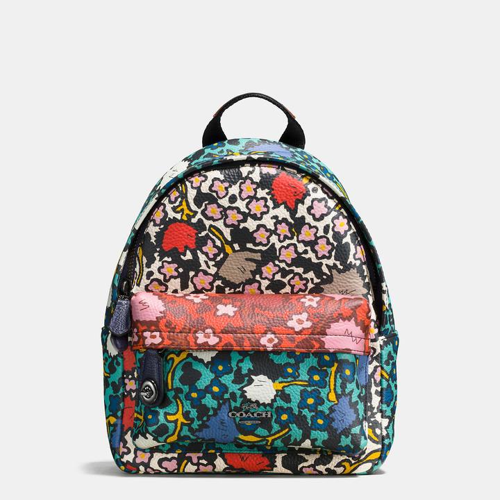 Coach Mini Campus Leather Print Backpack