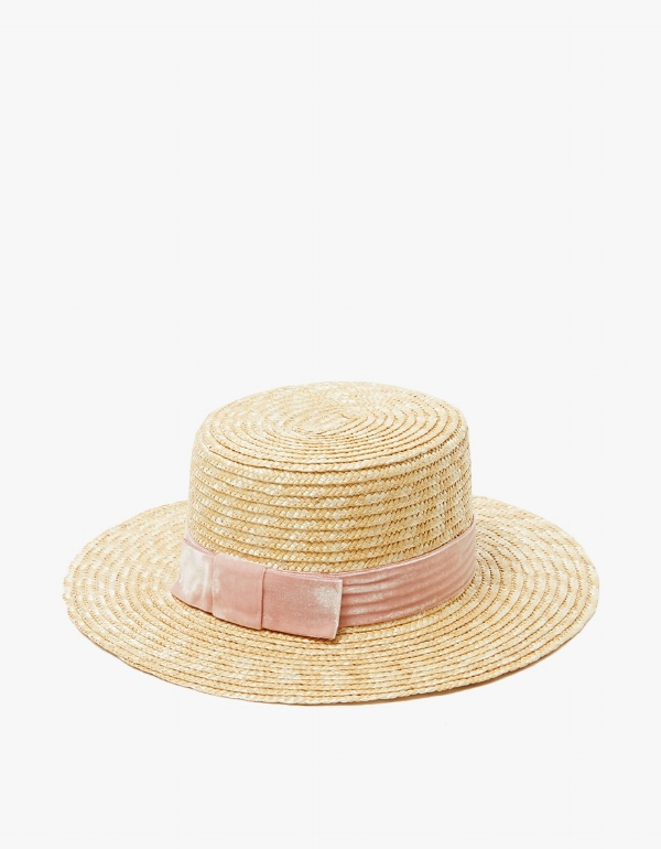 Pink of Velour Boat Hat by Lack of Color