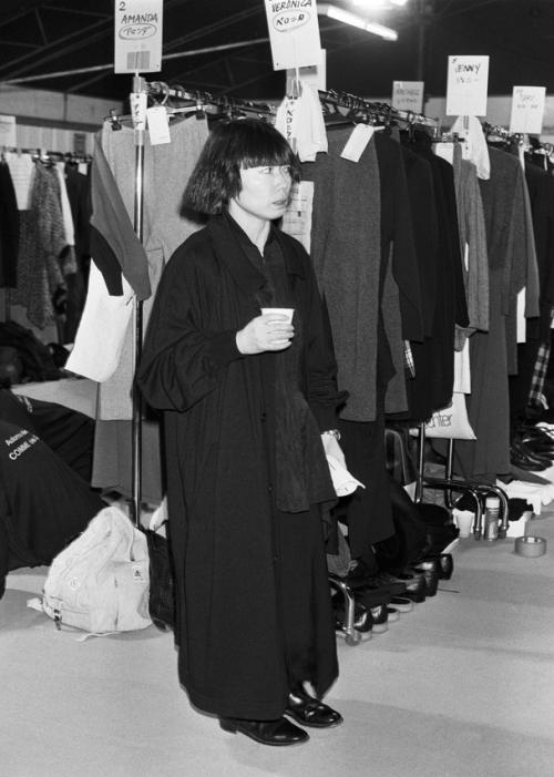 Rei Kawakubo backstage, 1986.
