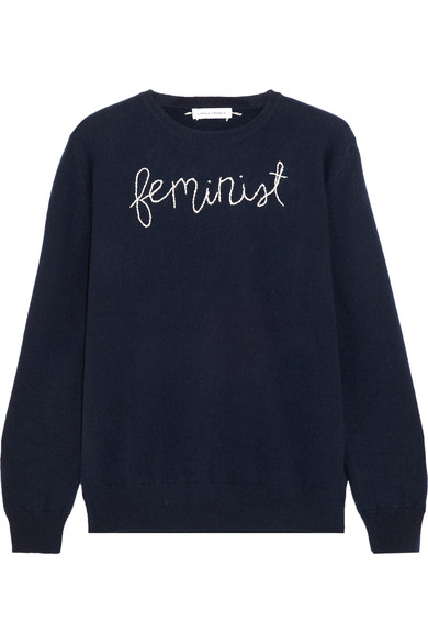 Feminist 'embroidered' navy cashmere sweater