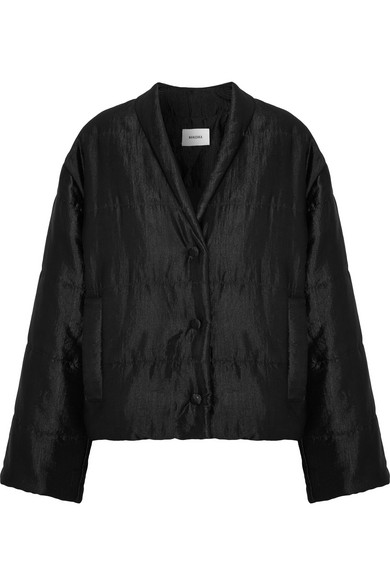 - LING QUILTED SATIN-FAILLE JACKET / Nanushka available at Net-a-Porter $570