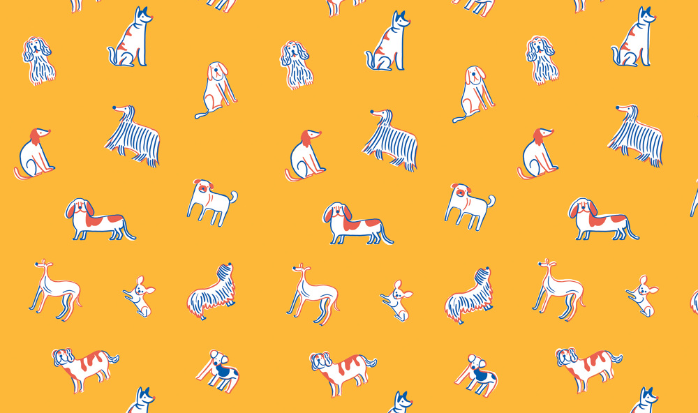Dogs on dogs on dogs patterns, illlustrated by Monica Andino // DNAMAG