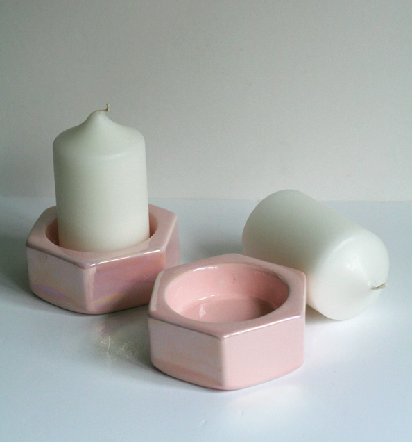 - SET OF 2 SHIMMERING PINK CANDLE HOLDERS $21