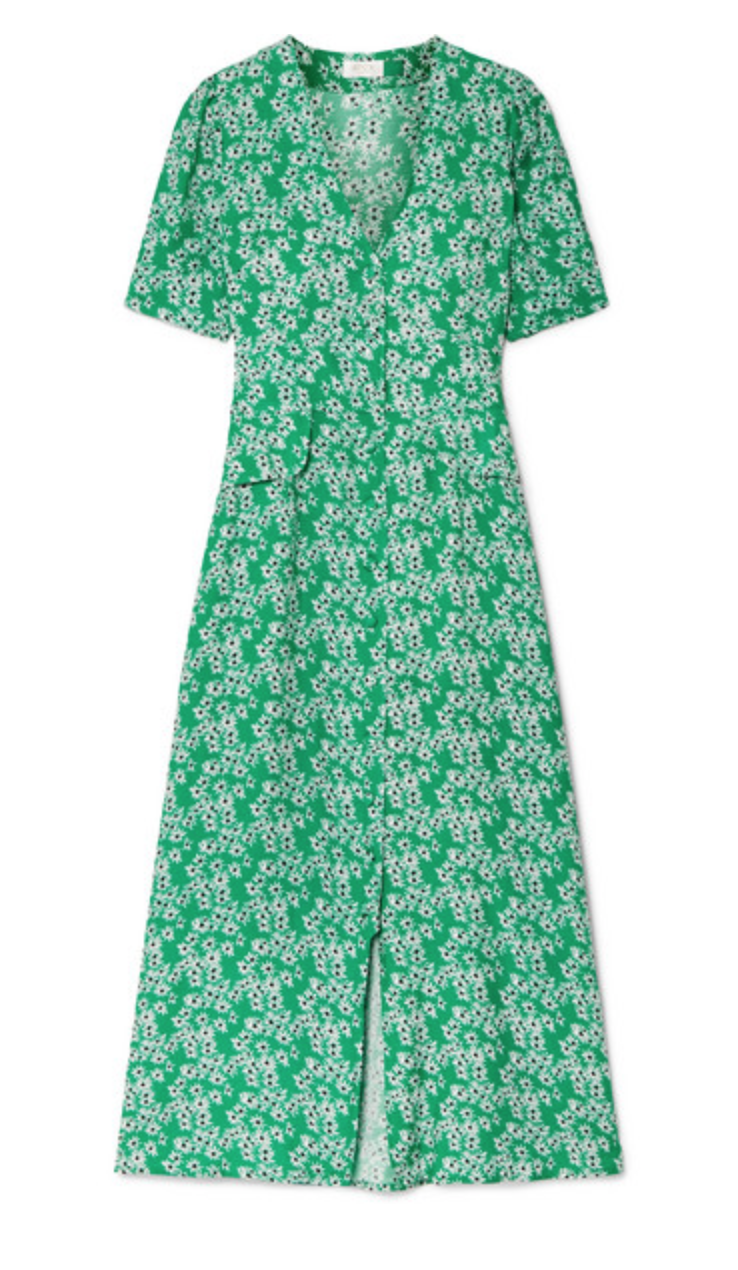 - JACKSON FLORAL PRINT CREPE DE CHINE MIDI DRESS / RIXO $252 available at Net-a-Porter