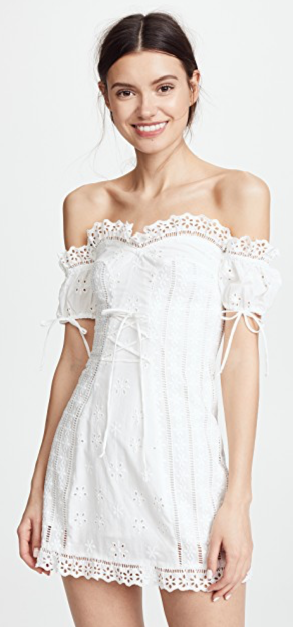 - EYELET LACE-UP DRESS / For Love & Lemons $211 available at Shopbop