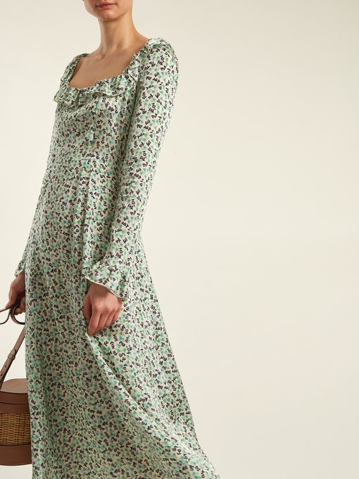 - FLORAL PRINT SQUARE NECK DRESS / Alexachung $324 available at Matchesfashion.com